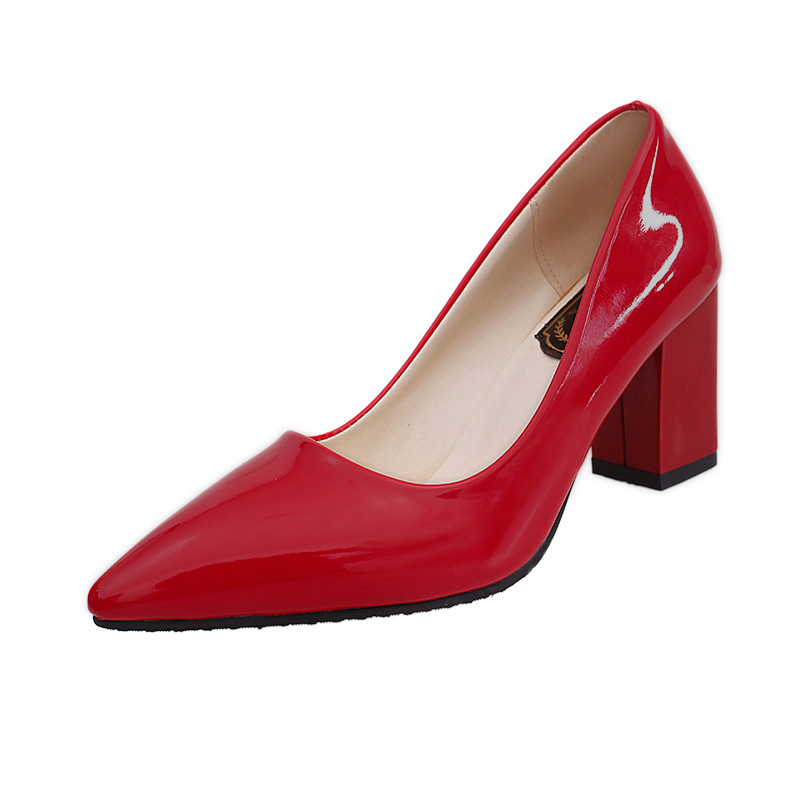 2017 spring women shoes Korean nude heels lady shoes with pointed temperament thick black red patent leather shoes high heels<br><br>Aliexpress