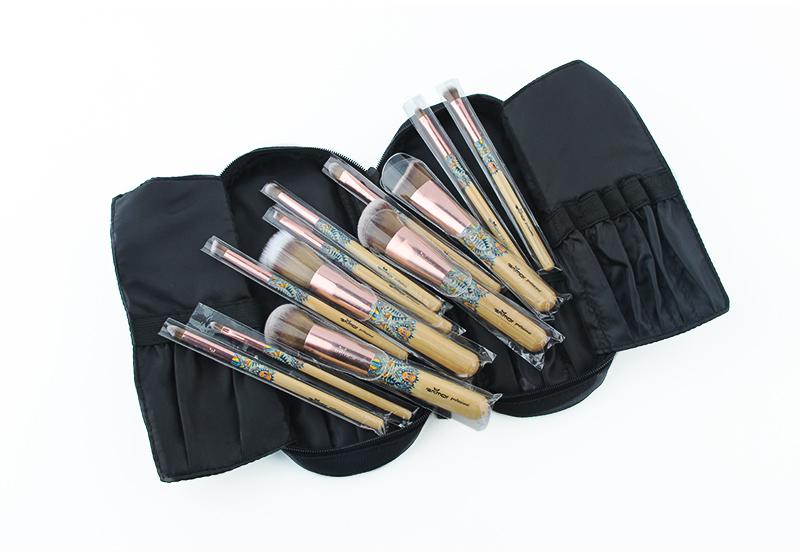 Nouveau Maquillage Brosses 12 pcs Ensemble En Bambou Make Up Brosse Souple Synthétique Collection Kit avec Poudre Contour Fard À Paupières Sourcils Brosses 10