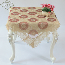 Free Shipping High Quality Luxury Rose Pattern 85cm Square Organdy Embroidered Tablecloth