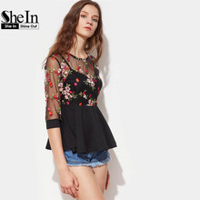 SheIn Sexy Blouses for Women Black Three Quarter Length Sleeve Flower Embroidered Mesh Overlay 2 In 1 Peplum Top