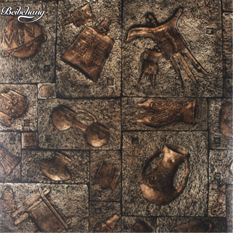 beibehang Chinese retro imitation bronze wallpaper characteristics of the club senior archeological sites 3D stereo wallpaper<br>