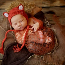 Infant Fox Cap Photography Props Newborn Cute Fox Baby Hat Crochet Accessories Handmade(China)