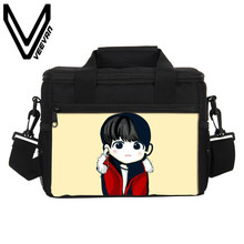 VEEVANV Brand 2017 BTS Cartoon 3D PU Prints Food Cold Bag Men BTS Cartoon Lunch Box Casual BTS Small Lunch Picnic Bags for Women