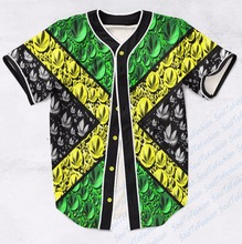 Real AMERICAN USA Size Custom made Fashion 3D Sublimation Print jamaica 420 Baseball Jersey Plus Size