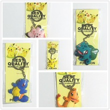 New Arrival Pokemon Keychain Pendant Cartoon Pokemon Figures PVC Pikachu Bulbasaur Gastly Chansey Squirtle Keyrings