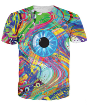 Oil Spill Eye Melt T-Shirt a graphic eye and oil spill bright colors 3d t-shirt women men summer tees hip hop vibrant t shirt