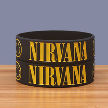 Wide Size Black Silicone Bracelets Nirvana Bangles Rock Music Band Silicone Wristbands Customized Rubber Bracelet