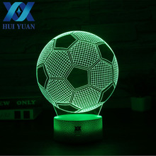 HUI YUAN 3D Lamp Football Club Real Madrid/ACM USB 7 Color Cool Glowing Base Home Decoration Table Lamp Children Gift Nightlight