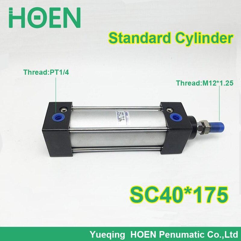 SC40*175 40mm Bore 175mm Stroke SC40X175 SC Series Single Rod Standard Pneumatic Air Cylinder SC40-175<br>