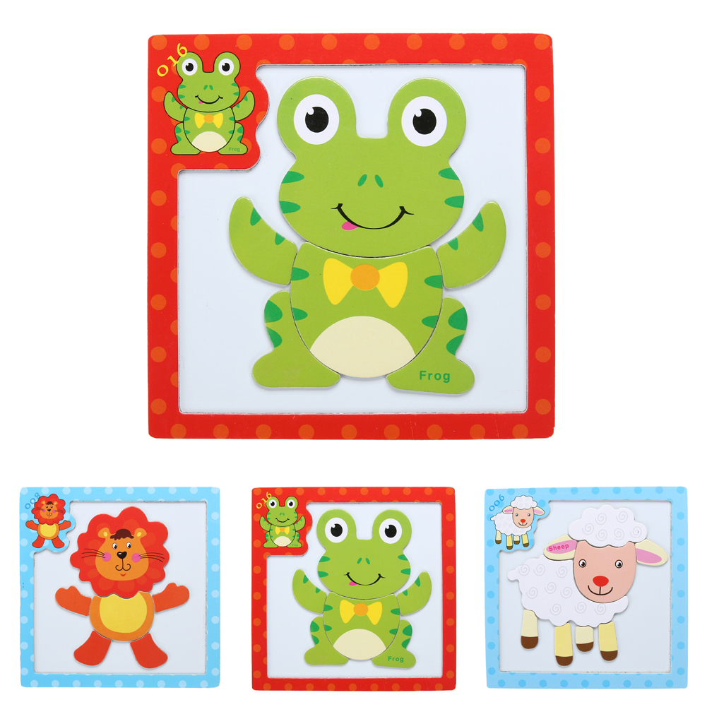 Magnetic Jigsaw Puzzle Wooden Board Children Developmental Cartoon Sheep Lion Frog Animals Puzzle Jigsaw Toy Gift for Kids(China)