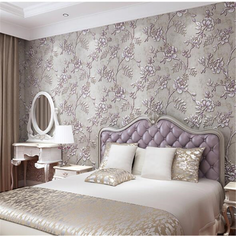 beibehang  European pastoral non - woven wallpaper TV background wall living room bedroom wallpaper 3d stereo video wall relief<br>