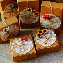 DIY Retro Kraft Paper box with Paper Shred Filler and flower,Wedding Gift Favor Boxes,Party Candy Box, Easter 10set/lot(China)