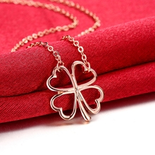 2016 INALIS brand Real 18KGP Rose gold colour Four Clover Crystal 18KGP gold colour Pendant Necklace For Women New Sales Hot
