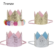 Tronzo Birthday Party Mini Felt Glitter Crown with Flower Prince and Princess Hat For Baby Shower Party Decorative Accessories