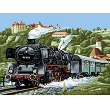 Qluo 100% Handmade Handwork Train Picture Digital Oil Painting On Canvas Art Wall Diy Gift Modern Abstract Home Decoration(China)