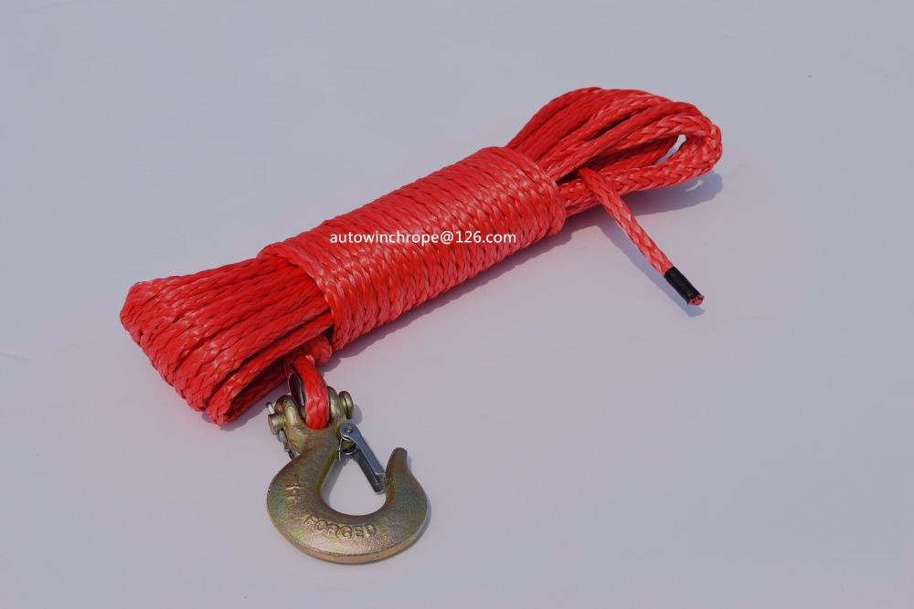 Free Shippiing 6mm*15m Red Winch Line Hook,Durable UHMWPE Rope For ATV UTV Vehicle Car Motorcycle,Synthetic Rope
