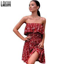 LAISIYI Bohemian Floral Printed Strapless Mini Dress Off Shoulder Sexy Beach Boho Dresses Cute Casual Red Summer ASDR20590(China)