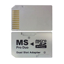 New Hot Sale Dual 2 Slot Micro For SD SDHC TF to Memory Stick MS Card Pro Duo Reader Adapter For PSP