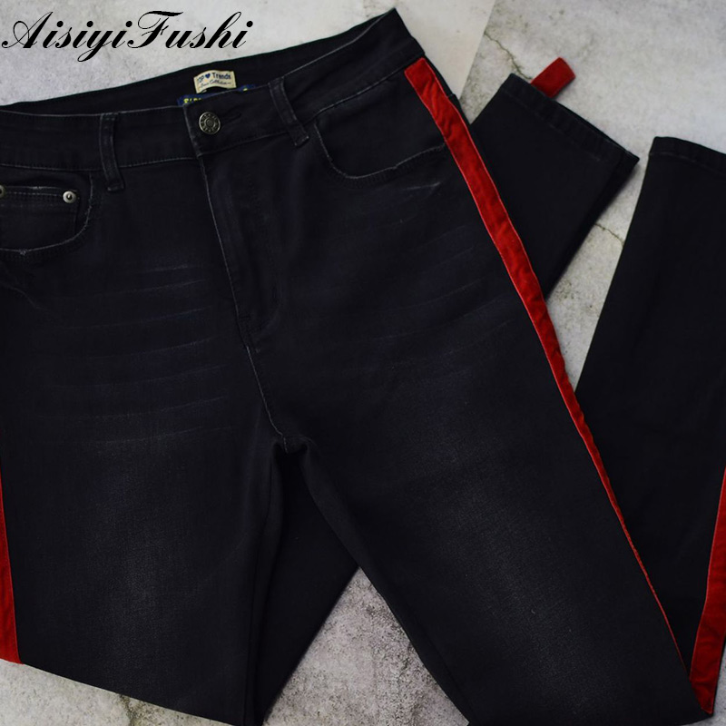 c9437050e04 Black High Waisted Jeans With Stripes Women Skinny Jeans For Woman Plus  Size Ladies Jeans Large Size Trousers Female Denim