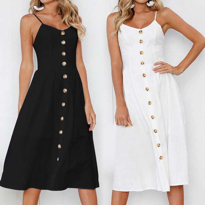 dee1a503d0f CALOFE Women s Summer Bohemian Sleeveless Button Vintage A-Line Casual Long  Maxi Loose Dress Sundress