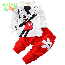 2017 Boys&Girls Cotton Spring sport suit Kids Mickey Minnie Clothing set Kids fashion clothes baby boys&Girls cartoon set