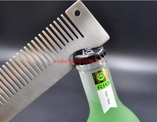 500PCS Engraved Your Logo Anti Static Stainless Steel Comb Multi-function Beauty Comb, Can Be Use As A Bottle Opener