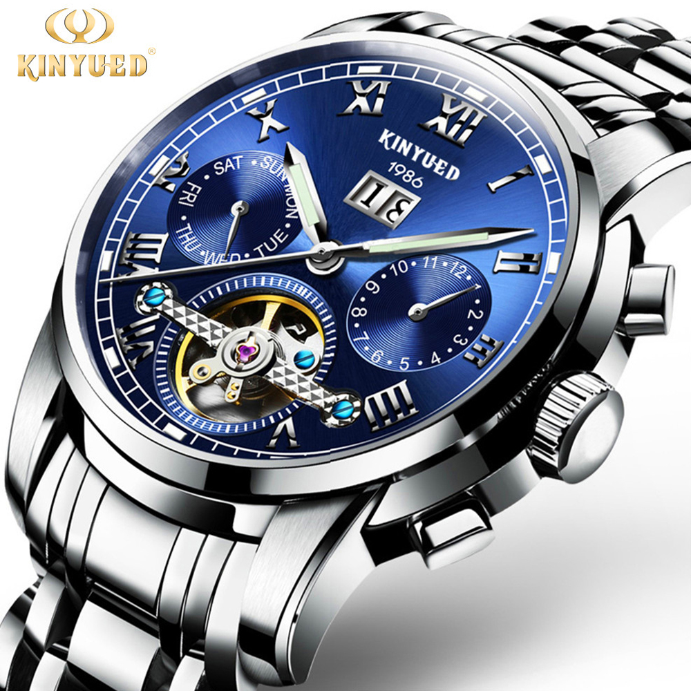 KINYUED Mens Skeleton Watch Top Brand Luxury Fashion Automatic Watches Men Mechanical Steel Watch Luminous Tourbillon Wristwatch<br>