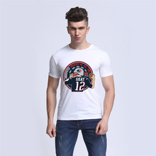 New Men T shirt 2017 Tom Brady GOAT 12 Casual Funny Man Cotton Tees Funny White Tops Short Sleeve Hipster Clothing compression(China)