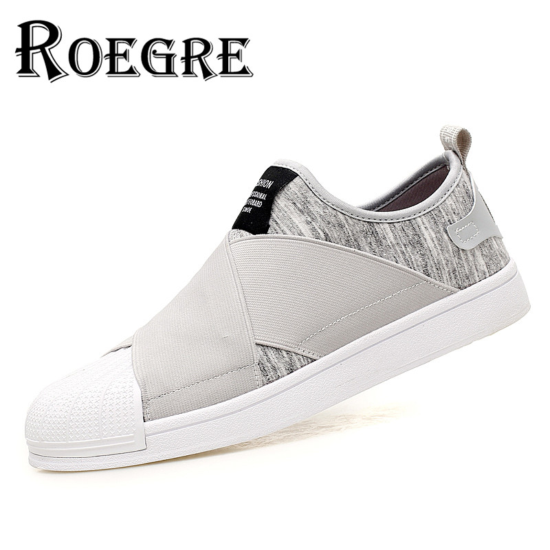 ROEGRE 2017 New Spring Men Casual Slip On Flats Shoes Stretch Fabric Luxury Designer Men Skate Shoes Black Blue Grey<br><br>Aliexpress