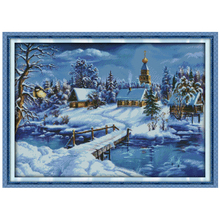 A World of Ice and Snow Counted Cross Stitch 11CT 14CT Cross Stitch Set Wholesale Winter Cross-stitch Kits Embroidery Needlework