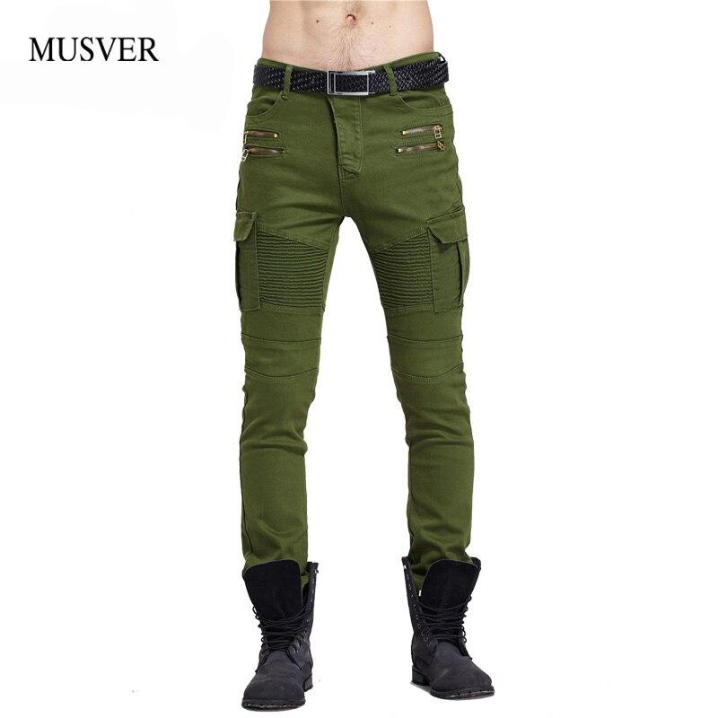 MUSVER 2017 Mens Skinny Ripped Biker Jeans Homme Brand Multi Pockets Cargo Pant Army Green Mens Pleated Pencil Slim  Denim JeansÎäåæäà è àêñåññóàðû<br><br>