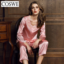COSWE XXL Pajama Sets Sexy Women Pajamas Long Sleeves Pajamas Suit Spring Silk Pajamas O-Neck Pyjamas Womens Sleepwear JD7152