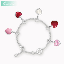 Red Pink Love Heart Bracelets Link Chain 925 Sterling Silver Ts Romantic Gift Thomas Style 2017 New Charm Jewelry For Women