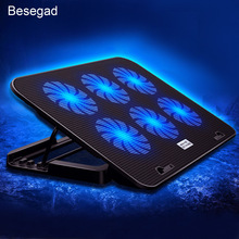 Besegad Dual USB Port Quiet Heatsink Adjust Wind Speed Cooling Fan laptop Pad Cooler Stand for Notebook PC Size within 17 Inch