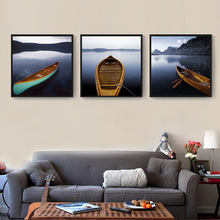 HAOCHU Nordic Home Decoration Boat On Still Water Landscape Photograph Canvas Painting Square Wall Pictures No Frame(China)