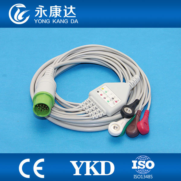 One-piece 17Pin 5leads ECG cable and leadwires with snap for Spacelabs,AHA,CE&amp;ISO13485<br>