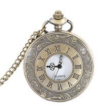 Pocket Fob Watch Roman Numerals Clock Vintage Quartz Watches Pendant Necklace Antique Chain Jewelry Gifts For Women Men  LL@17