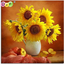 DPF NEW DIY Diamond Painting cross stitch Flower Needlework Craft Best Full Diamond Embroidery Sunflower On The Table Home Decor(China)