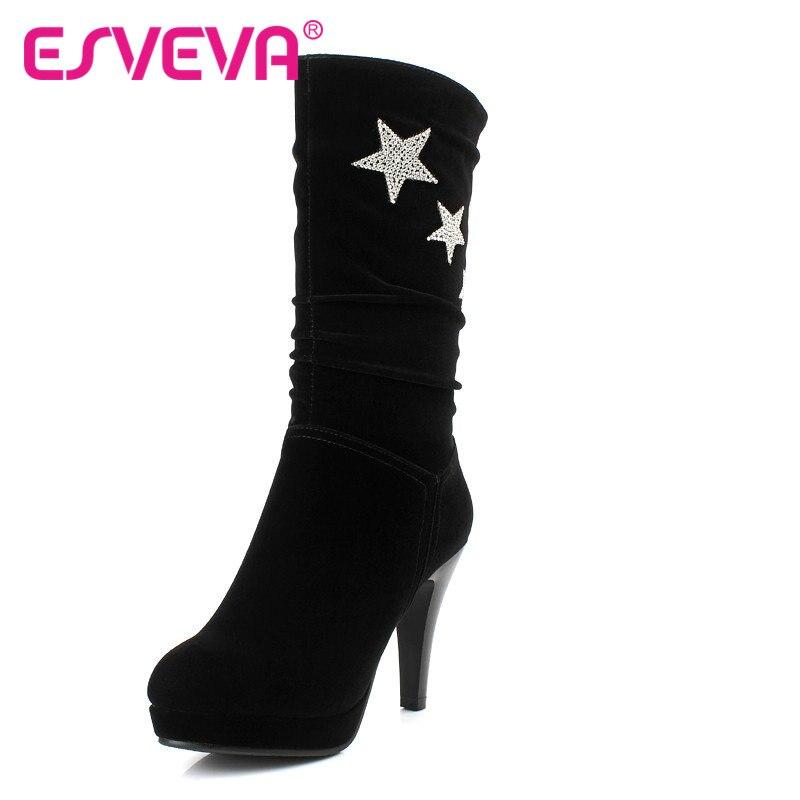 ESVEVA Sexy Rhinestone Star Suede Fashion Boots Women Thin High Heel Round Toe Mid-calf Boots Ladies Fashion  Boot Size 34-40<br><br>Aliexpress