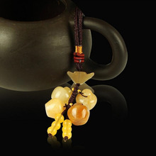 Chinese Feng Shui Yellow Jade Rhodium Symbol Handbag/ Car Charm Hanging Amulet(China)