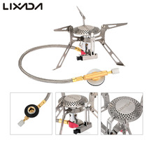 Lixada Outdoor Cooking Stove Mini Foldable Stainless Steel Camping Gas Stove Furnace Split Type Butane Propane Burner