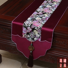 3 sizes High Quality Chinese Vintage Mixed Silk&Brocade Big Flower Pattern Purple Table Runner  Bed Flag with Jade tassel