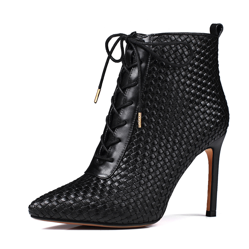 2016new sexy boots women pointed toe up womens boots thin high heels ankle boots big size 34-46 female boot Full Grain Leather<br><br>Aliexpress