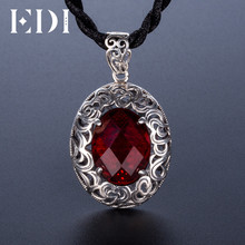 EDI Prevent Allergy Sterling Silver 925 Garnet Gemstone Pendants Featured Design Ruby Chalcedony Thai Silver Necklaces Retro(China)