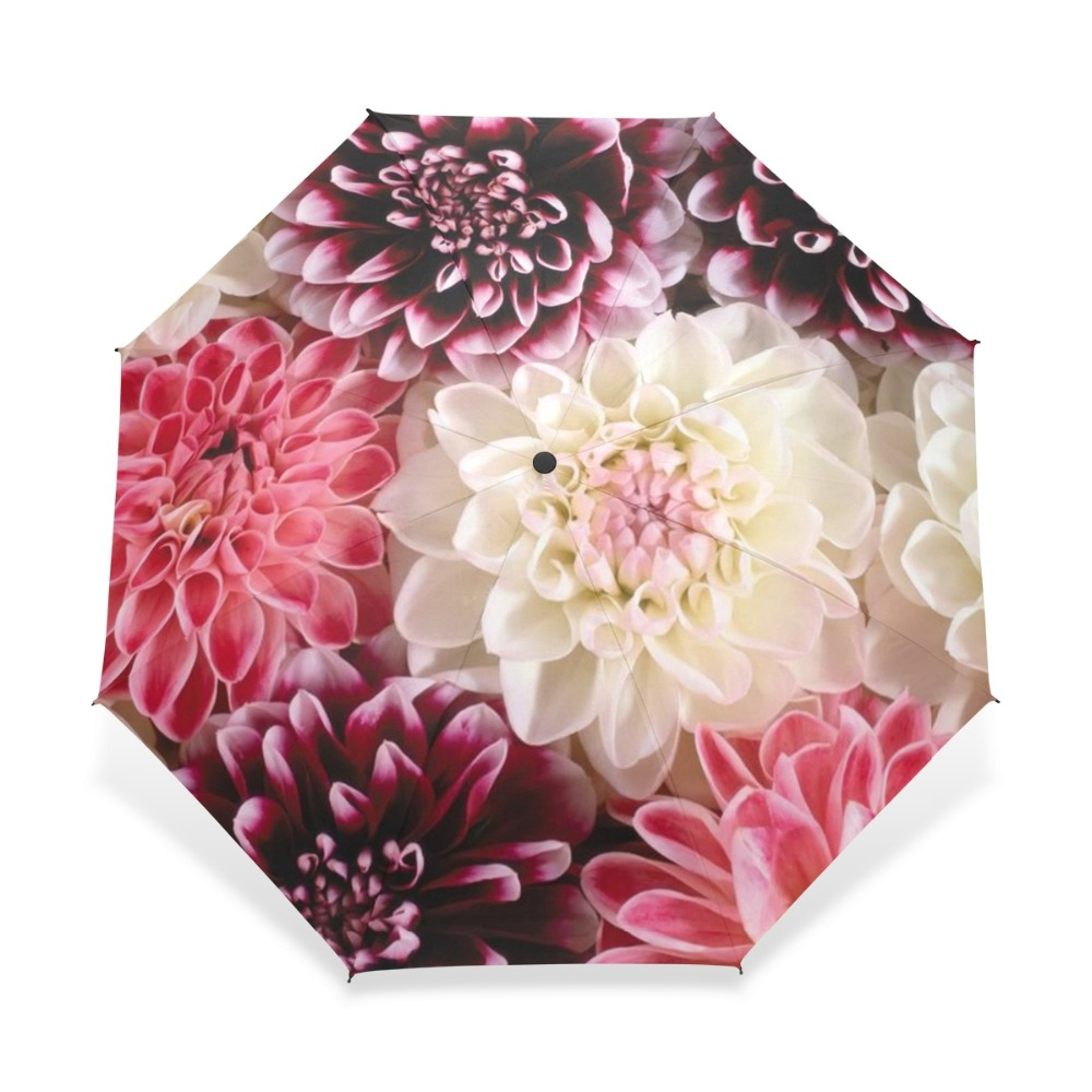 NA Abstract Flowers Automatic Tri-fold Umbrella Outer Print One Size
