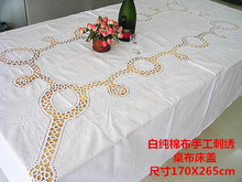 1PCS Foreign trade table cloth art American hand embroidery white tablecloth bed lid gift table cloth  170CM*265CM