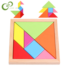 Kids Children Wooden Educational 7 Pieces Geometric Tangram Puzzle Square Toys GYH