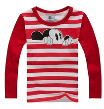 Baby Boys Girls T-Shirt Children Pullovers Tees Boys Clothes Autumn Winter Cotton Kids T Shirt Cartoon Mouse Long Sleeve