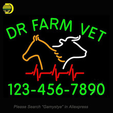 Neon Signs For Dr Farm Vet With Number Neon Bulbs Sign Handcraft Decorate Room Night Light BEER BAR Pub Display Warranty Sign(China)