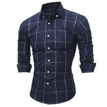 Hot New 2017 Men's brand Shirt Men Fashion Casual Long Sleeve Turn-Down Slim Plaid Shirt Men High Quality Mens Dress Shirts XXL